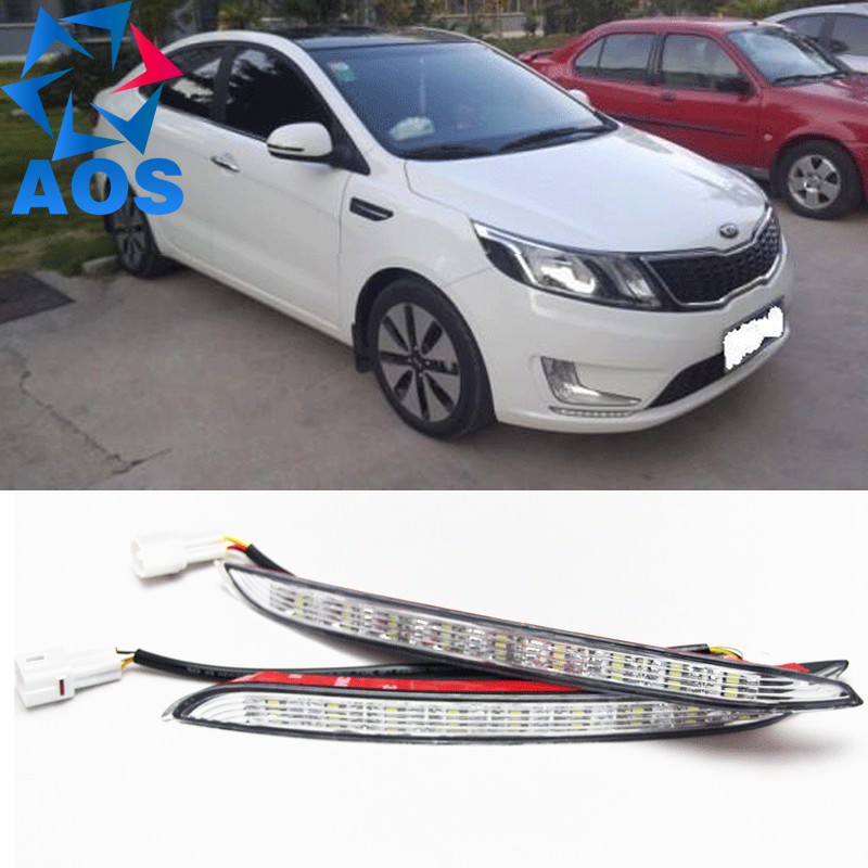 Turn off and dimming style relay LED Car DRL Daytime Running Lights for KIA K2 RIO 2012 2013 2014   with fog lamp<br>