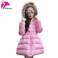 Girls Winter Jackets Coats Fur Hooded Thick Warm Long Parka Down Winter Kids Clothes Cotton Children's Parkas Winter Jacket