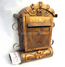 European cast iron mailbox Wall Mount Metal Post Letters Box Villa Antique Wall Mount Cast Iron Mailbox Embossed Trim Decor(China)