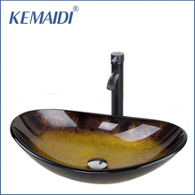KEMAIDI Bathroom Washbasin Countertop Tempered Glass Basin Faucet Set Brass Waterfall Faucet Washroom Vessel Vanity Bar Ship(China)