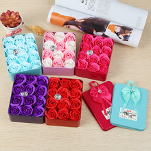 1 pcs 12*9*4CM 12 Immortal Rose Heart Iron Box Soap Flower Girlfriend Birthday Gift
