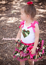 Valentine's Day Camouflage Heart White Pettitop Petal Skirt Girl Outfit NB-8Year MAPSA0265