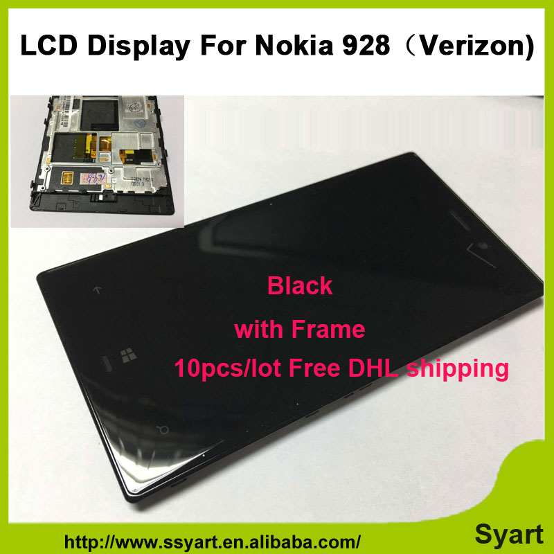 10pcs/lot FreeDHL Full LCD Display Verizon Version 4.5 lcd Touch Screen Digitizer Assembly with frame bezel For Nokia Lumia 928<br><br>Aliexpress