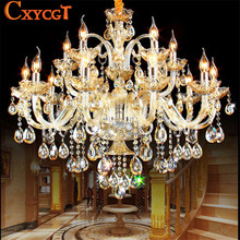 K9 Crystal Candle Chandelier Light Fixture Luxury Lampara de arana For Living Room Hotel AC110V~240V 6/8/10/12/15/18 Arms