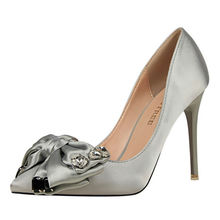 Women Shoes High Heels Shallow Mouth Pointed Toe Shoes Satin Butterfly-Knot Ladies Pumps W02586-33