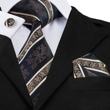 SN-798 Black Bisque Mediumblue Striped Tie Hanky Cufflinks Sets Men's 100% Silk Ties for Men Formal Wedding Party Groom(China)