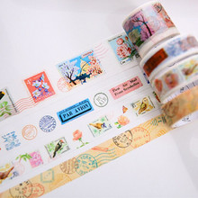 4 Roll Vintage Washi Tapes DIY Decorative Adhesive Masking Tapes Scrapbooking Planner Journal Stickers Retro Stationery for Kids
