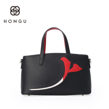 Hongu Light Luxury Genuine Leather Women Hit Color Flowers Boston Tote handbags Famous Brands Lady Shoulder Bags designer louis - HONGU LightLuxury Store store