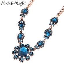 Match-Right Blue Crystal Sunflower Statement Necklace Summer Style Necklaces & Pendants  Women Jewelry For Gift Party