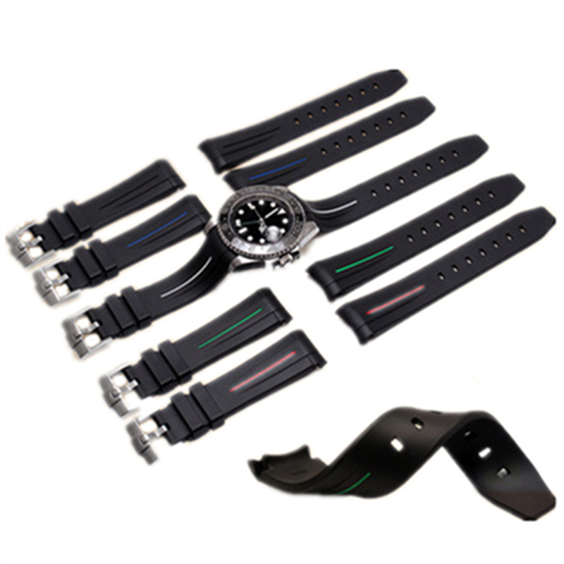 LUKENI Luxury Brands RB Swiss Made 20mm 21mm Silicone Rubber GMT Watch Strap Watchbands For Daytona Submarine ROLE Sub-mariner <br>