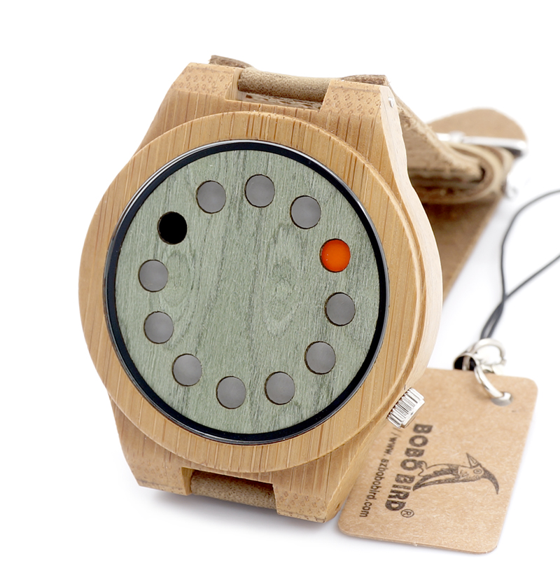 BOBO BIRD A03 Mens Bamboo Watches 12 Holes Display Green Wooden Dial Quartz Wristwatch with Leather Strap in Gift Box<br><br>Aliexpress