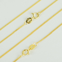 Italy Jewelry Real 925 Sterling Silver Gold Color Flat Curb Chain Necklace for Women Girls Boys kolye collares collane collier(China)