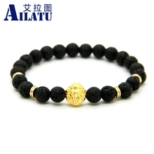 Ailatu Men Beaded Energy Jewelry Wholesale 8mm Volcanic Stone Beads Gold-Color Plated Lion Head Bracelet