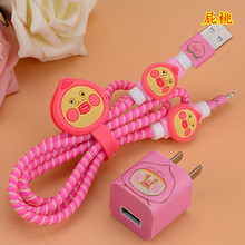 Cute Fart peach Jun USB Cable Earphone Protector Set with Cable Winder stickers Spiral Cord protector For iphone 5 6 6s 7(China)