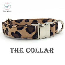 The leapard print dog collar   cotton fabric  metal buckle dog &cat necklace or dog leash  unique style paws