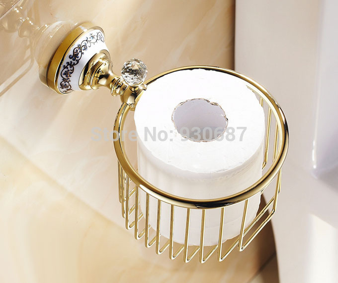 Gold Plate Toilet Paper Holder Wall Mount Commodity Rack With Crystal<br><br>Aliexpress