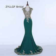 ZYLLGF Bridal 2017 New Real Photos Mermaid Evening Dresses Long Floor Length Formal Evening Gowns Dubai With Beadings SP4