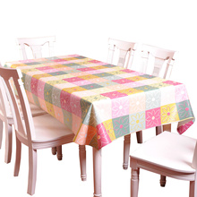 RUBIHOME Square PVC Tablecloth Printed Flower Rose Floral Yellow Pink Daisy Design Table Cover Waterproof Home Decorative