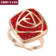 ZHOUYANG Top Quality Luxurious Hollow Out Red Rose Rose Gold Color Wedding Ring Austrian Crystals Wholesale ZYR290