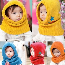 1PCS Fashion Modern Cute Winter Beanie Baby Kids Boy Girl Warm Hats Hooded Scarf Earflap Knitted Cap Clothing accessories