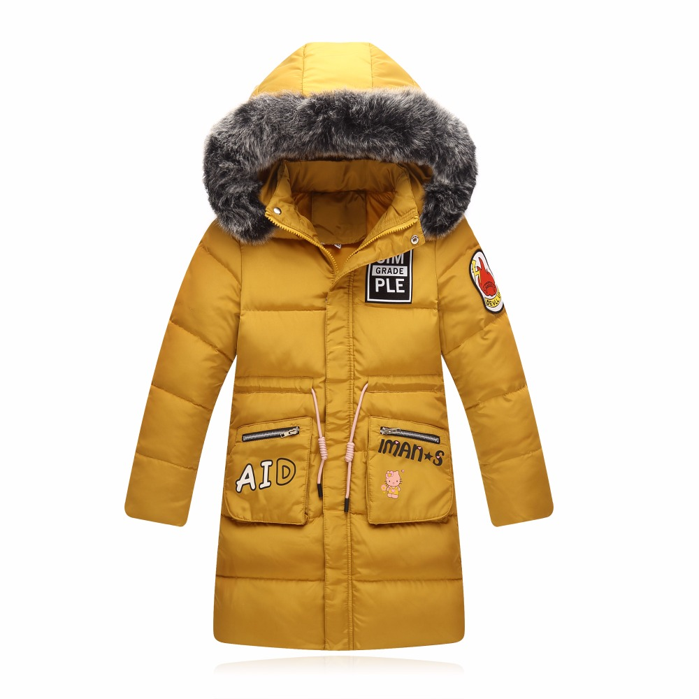 Girls jackets Childrens winter coats for girls long coat 70% gray duck down winter clothes for girl outerwear children clothing<br>