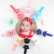 Express Free 150pcs/lot Colorful Elastic Headband with Shiny 3D PVC Satin Bow Bowknots Headwear for Newborn Girl FDA203(China)