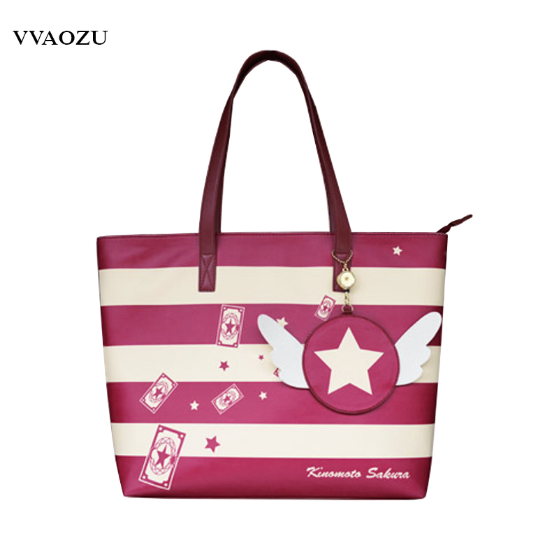 Cardcaptor Sakura Card Captor Sakura Cosplay Shoulder Bag Women PU JK Schoolbag Cartoon Lolita Handbag with Wing Purse<br>