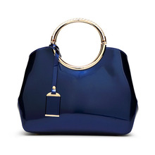 Luxury 2017 Designer Totes Women Patent Leather Handbags Classic Circle Ring Messenger Bags Large Shoulder Jelly Ladies Hand Bag