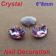 DIY Nail Art Decoration Wholesale 6x8mm 100pcs/lot Pointback Light Purple Oval Crystal Rhinestones Fancy Stones For Phone Case