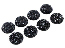 New Fashion 40pcs 12mm Starry Style And Pineapple surface Style Black Color Flat Back Resin Flower Cabochons Cameo(China)