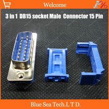 20 sets 3 in 1 NEW 15 Pin D-SUB DB15 socket/jack Male IDC Flat cable Connector Free shipping