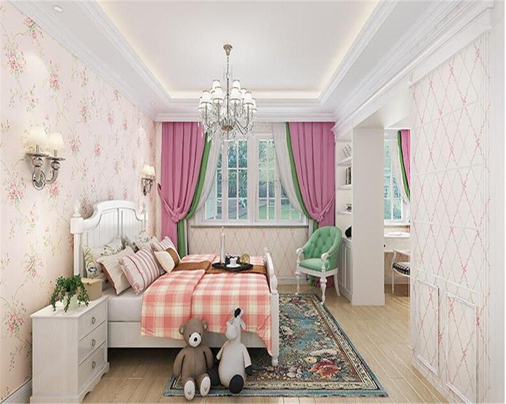 beibehang Warm pastoral flowers papel de parede 3d wallpaper pink children bedroom bedside study nonwoven wallpaper papier peint<br>