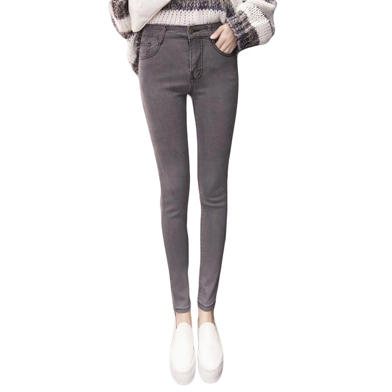 The new winter high waist female jeans stretch cultivate ones morality grey black blue pencil pantsОдежда и ак�е��уары<br><br><br>Aliexpress