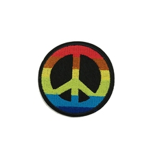 2pcs/set Colorful Peace Badge Logo Embroidered Iron-On Patches For Clothes Garment Applique DIY Accessory(China)