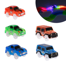 DIY LED Light Up Cars For Glowing Race Track Bend Flex Flash In The Dark Fancy Assembly Car Toy Cars For Kid Glow Tracks Car(China)