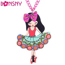 Buy Bonsny Dance Girl Necklace Colorful Angel Collier Acrylic Long Chain Pendant Fashion Woman Jewelry Fairy Wings 2016 News Pattern for $3.99 in AliExpress store