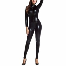Buy Sexy Faux Leather Latex Zentai Catsuit Skin Tight Shiny Smooth Wetlook Jumpsuit Front Zipper Elastic PUBodysuit Slim Clubwear
