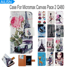 AiLiShi Hot Sale Flip PU Leather Case For Micromax Canvas Pace 2 Q480 Case New Cartoon Painted Protective Cover Skin In Stock