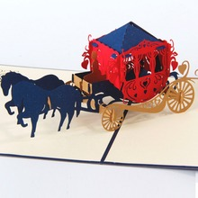 1Pcs 13*16cm Wedding Carriage Multicolor 3D Pop Up Card With Vintage For Best Wishes Of Birthday Greeting Card
