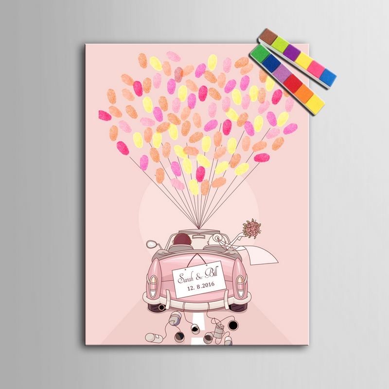 wedding guest book pink car fingerprints painting personalized wedding gift for guests livre dor