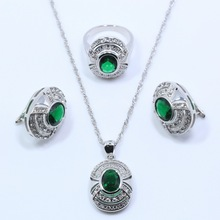 AAA+ Quality Green Zircon 925 Sterling Silver Jewelry Sets For Women Earring Necklace Pendant Ring Free Gift Box T52