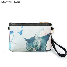 ANAWISHARE Crossbody Bags For Women Day Clutches Cat Printing Leather Handbags Women Messenger Bags Envelope Evening Party Bags