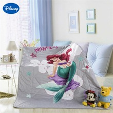 Disney character Ariel Mermaid Princess Print Quilt Bedding for Girls Baby Bedroom Decor Twin Queen Size Summer Soft Grey Color(China)