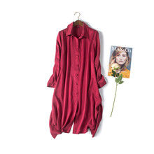 High Quality Sand Washed Silk Spring Dress 2017 New Arrival Asymmetrical Shirt Dress 100% Silk Tunique Femme 2017 Spring Summer