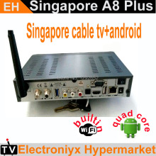 2PCS/LOT A8 plus android box iptv singapore+starhub cable tv combo with 300+ chnl quad core(Kodi 4K H.265)on sport channel