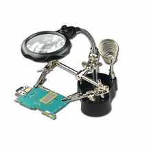 Desk magnifier lamp 3.5x-12x Third Hand Iron Stand Soldering LED Illuminated magnifying glass loupe Motherboard Repair Tools(China)