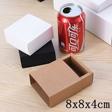 20pcs/lot Natural Brown Kraft Paper Box Slide Open Gift Box White Wedding Favors and Candy Box Cardboard Carton Packaging Party