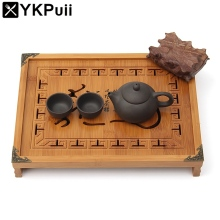 Natural Wood Bamboo Tea Tray Kung Fu Tea Set Rectangular Chinese Traditional Bamboo Puer Tea Tray Tea Table For Teapot Storage(China)