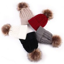 1PC Cute Winter Mom Women Baby Kids Girl Boy Newborn Crochet Knitted Hats Skull Caps Wool Fur Ball Pompom Beanies Hat(China)