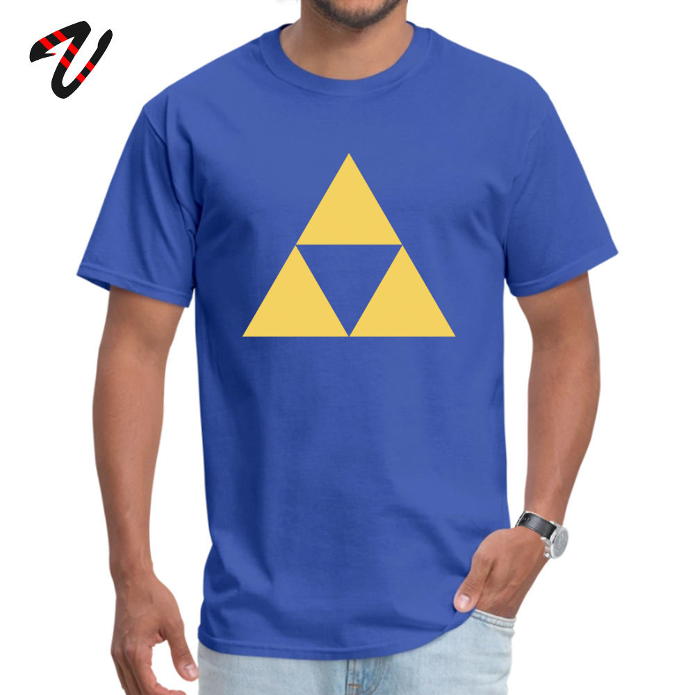 Gold Zelda triforce Pure Cotton Tshirts for Men Short Sleeve Tops & Tees Wholesale Summer Fall Round Collar Tops Shirts Leisure Gold Zelda triforce 3 947 blue